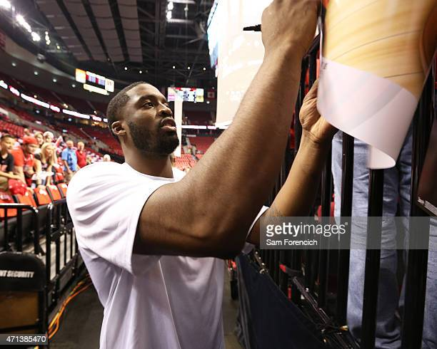 Wesley Matthews of the Portland Trail Blazers signs autographs before the game against the Memphis Grizzlies in Game Four of the Western Conference...
