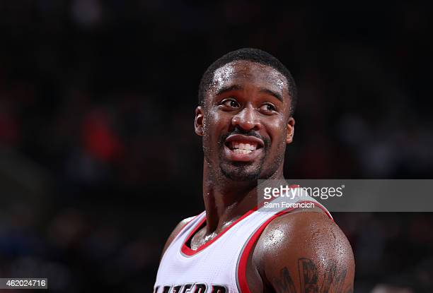Wesley Matthews of the Portland Trail Blazers smiles against the Boston Celtics on January 22 2015 at the Moda Center Arena in Portland Oregon NOTE...