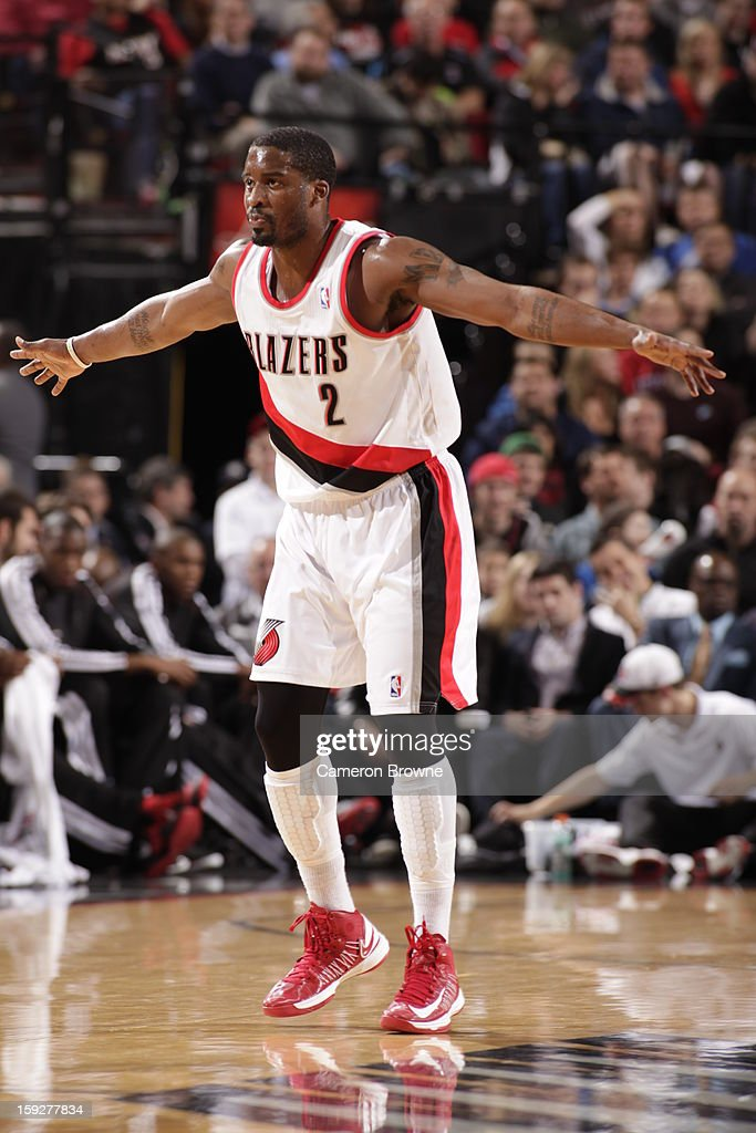 Wesley Matthews #2 of the Portland Trail Blazers spreads his arms ready to play defense against the Miami Heat on January 10, 2013 at the Rose Garden Arena in Portland, Oregon.
