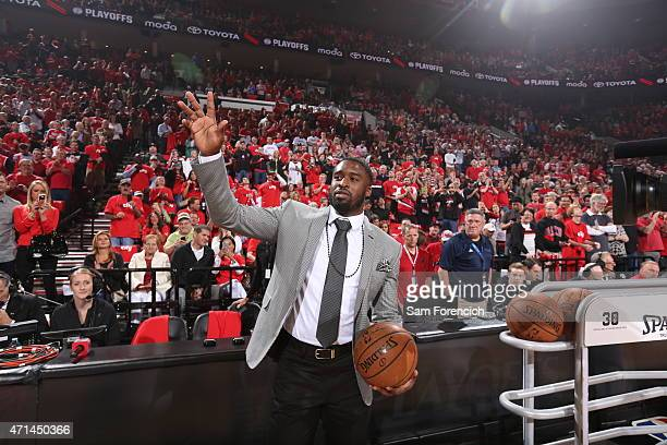 Wesley Matthews of the Portland Trail Blazers stands on the court during a game against the Memphis Grizzlies in Game Three of the Western Conference...