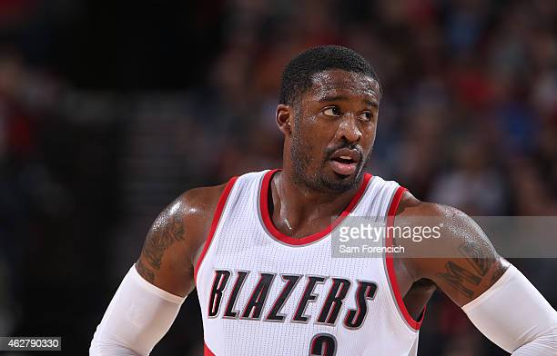 Wesley Matthews of the Portland Trail Blazers stands on the court against the Utah Jazz on February 3 2015 at the Moda Center Arena in Portland...