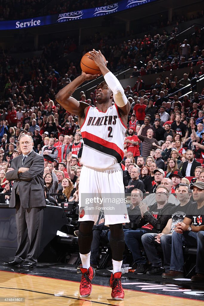 Wesley Matthews #2 of the Portland Trail Blazers takes a shot during a game against the Minnesota Timberwolves on February 23, 2014 at the Moda Center Arena in Portland, Oregon.