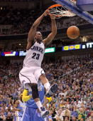 Wesley Matthews of the Utah Jazz dunks the ball against the Denver Nuggets during Game Four of the Western Conference Quarterfinals of the 2010 NBA...