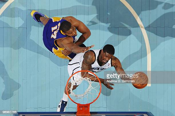 Wesley Matthews of the Utah Jazz goes to the basket against Andrew Bynum of the Los Angeles Lakers in Game Four of the Western Conference Semifinals...