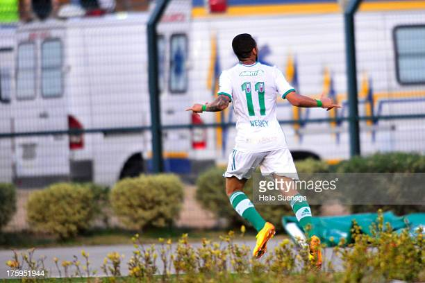 Wesley of Palmeiras celebrates a goal during a match between Palmeiras and Parana as part of the Brazilian Championship Serie B 2013 at Pacaembu...