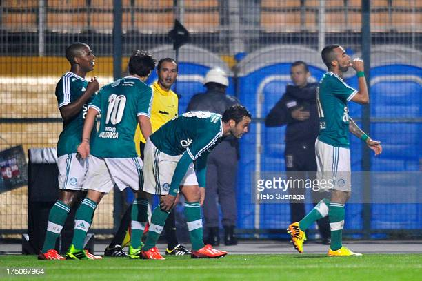 Wesley of Palmeiras celebrates a scored goal during the match between Palmeiras and Icasa for the Brazilian Championship serie B 2013 at Pacaembu...