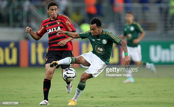 Wesley of Palmeiras fights for the ball with Danilo of Recife during the match between Palmeiras and Sport Recife for the Brazilian Series A 2014 at...