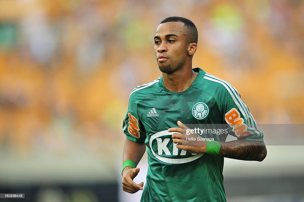 Wesley of Palmeiras in action during a match between Palmeiras and UA Barbarense as part of the Paulista Championship 2013 at Pacaembu Stadium on February 24, 2013 in Sao Paulo, Brazil.