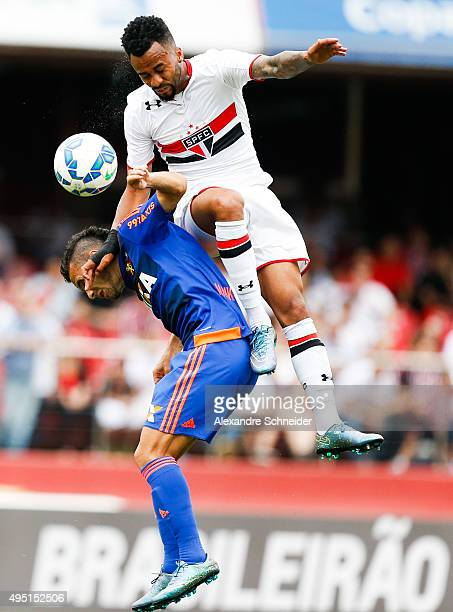 Wesley of Sao Paulo and Maikon Leite of Sport Recife in action during the match between Sao Paulo and Sport Recife for the Brazilian Series A 2015 at...