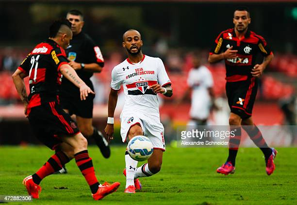 Wesley of Sao Paulo in action during the match between Sao Paulo and Flamengo for the Brazilian Series A 2015 at Morumbi stadium on May 10 2015 in...