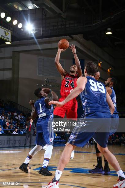 Wesley Saunders of the Windy City Bulls against Tiago Splitter of the Delaware 87ers during the game on March 25 2017 at Bob Carpenter Center in...