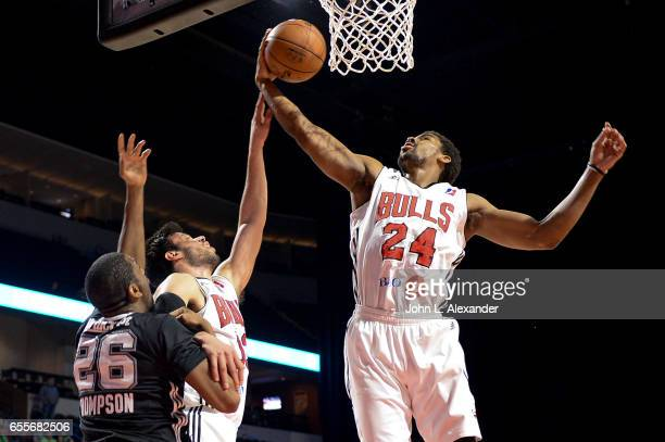 Wesley Saunders of the Windy City Bulls grabs a rebound against the Austin Spurs during a NBA DLeague game on March 17 2017 at the Sears Centre Arena...