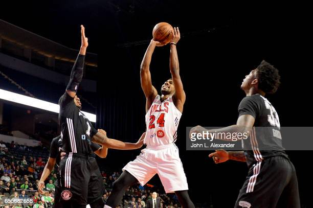 Wesley Saunders of the Windy City Bulls shoots the ball against the Austin Spurs during a NBA DLeague game on March 17 2017 at the Sears Centre Arena...