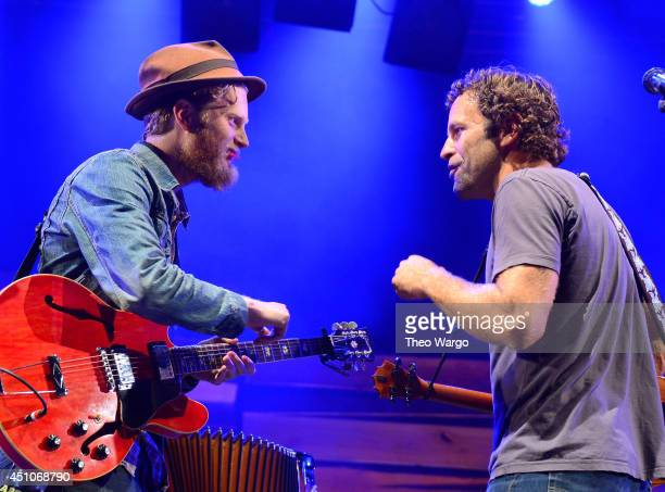 Wesley Schultz and Jack Johnson of The Lumineers performs onstage during day 4 of the Firefly Music Festival on June 22 2014 in Dover Delaware