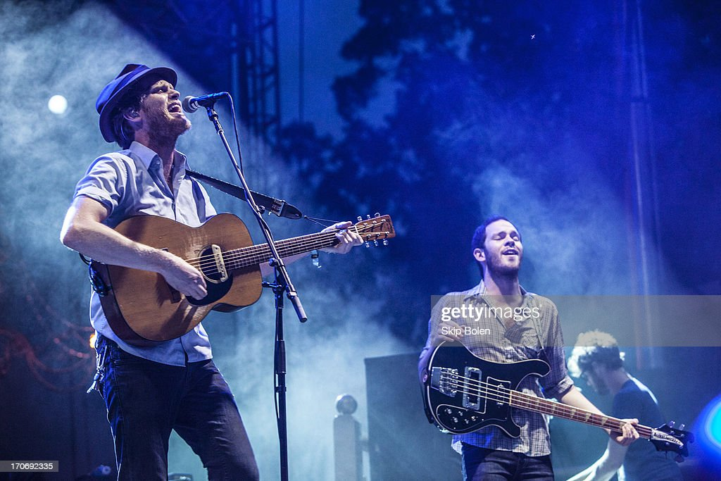 Wesley Schultz, Ben Wahamak and Stelth Ulvang of The Lumineers performs during the 2013 Bonnaroo Music & Arts Festival on June 15, 2013 in Manchester, Tennessee.