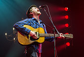 Wesley Schultz from The Lumineers performs at Le Zenith on November 17 2013 in Paris France