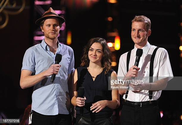 Wesley Schultz Neyla Pekarek and Jeremiah Fraites of The Lumineers speak onstage at The GRAMMY Nominations Concert Live held at Bridgestone Arena on...