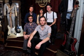 Wesley Schultz Neyla Pererek Jeremiah Fraites Stelth Ulvang and Ben Wahamaki of The Lumineers pose backstage before their performance at The Absolute...