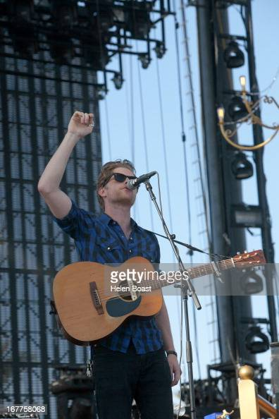 Wesley Schultz of The Lumineers performs on stage at 2013 Coachella Music Festival on April 21 2013 in Indio California