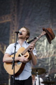 Wesley Schultz of The Lumineers performs on stage on Day 1 of Leeds Festival 2013 at Bramham Park on August 23 2013 in Leeds England