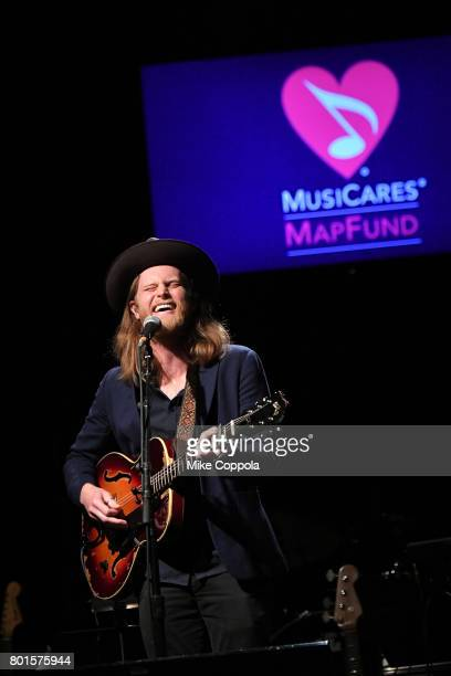 Wesley Schultz of the The Lumineers performs on stage at the 13th Annual MusiCares MAP Fund Benefit Concert at the PlayStation Theater on June 26...