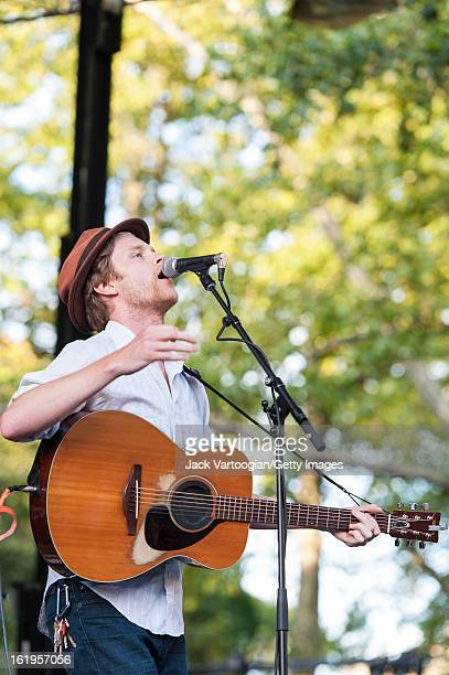 Wesley Schultz on guitar and vocals leads the Folk Rock band The Lumineers from Denver Colorado at a Benefit for and at Central Park SummerStage New...