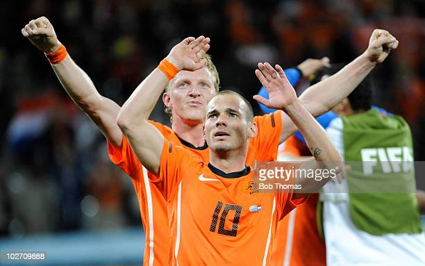 Wesley Sneijder and Dirk Kuyt of the Netherlands celebrate victory and progress to the final after the 2010 FIFA World Cup South Africa Semi Final...
