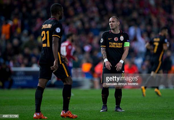 Wesley Sneijder of Galatasaray AS reacts during the UEFA Champions League Group C match between Club Atletico de Madrid and Galatasaray AS at Estadio...