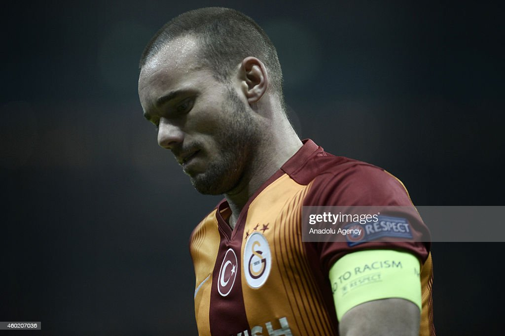 <a gi-track='captionPersonalityLinkClicked' href=/galleries/search?phrase=Wesley+Sneijder&family=editorial&specificpeople=538145 ng-click='$event.stopPropagation()'>Wesley Sneijder</a> of Galatasaray during the UEFA Champions League Group D match between Galatasaray and Arsenal at Turk Telekom Arena Stadium in Istanbul, Turkey, on December 9, 2014.