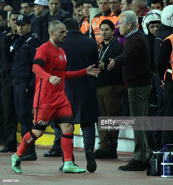 Wesley Sneijder of Galatasaray is seen after the Turkish Spor Toto Super Lig football match between Mersin Idmanyurdu and Galatasaray at Mersin...