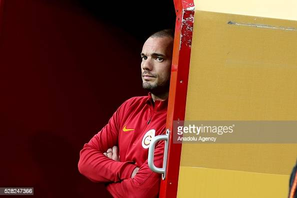Wesley Sneijder of Galatasaray waits in the bench during the during Ziraat Turkish Cup Semi Final second leg football match between Galatasaray and...