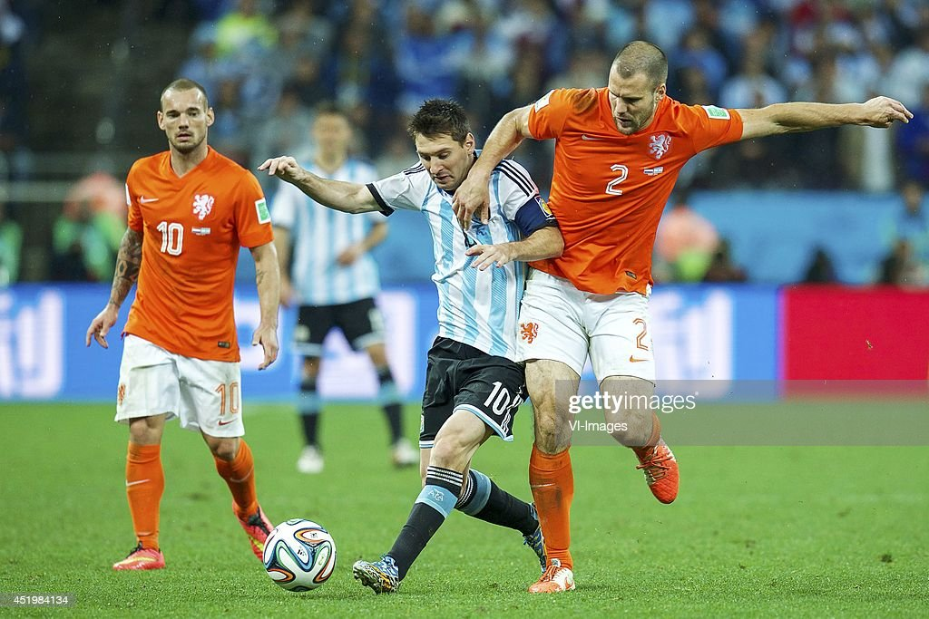 Wesley Sneijder of Holland, Lionel Messi of Argentina, Ron Vlaar of Holland during the match between The Netherlands and Argentina on July 9, 2014 at Arena de Sao Paulo in Sao Paulo, Brazil.