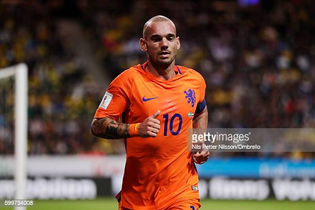 Wesley Sneijder of Netherlands during the FIFA World Cup Qualifier between Sweden and Netherlands at Friends arena on September 6 2016 in Solna Sweden