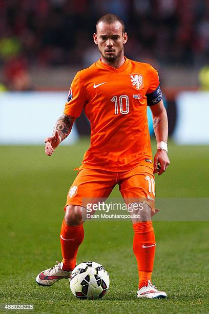 Wesley Sneijder of Netherlands in action during the UEFA EURO 2016 qualifier match bewteen the Netherlands and Turkey held at Amsterdam Arena on...