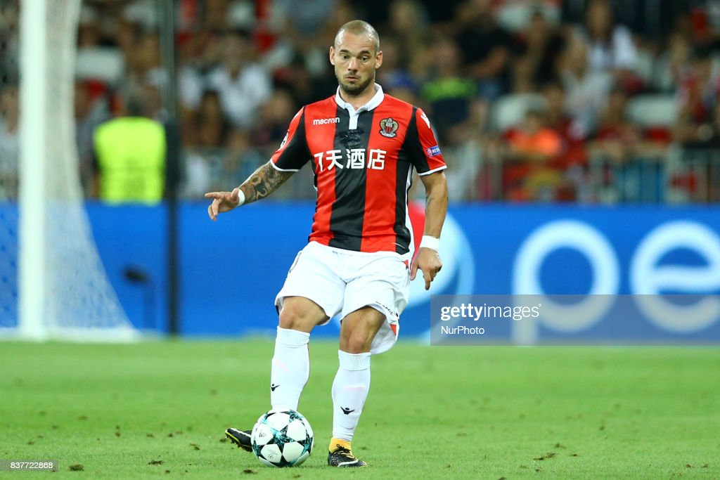 Wesley Sneijder of Nice during the UEFA Champions League Qualifying Play-Offs round, second leg match, between OGC Nice and SSC Napoli at Allianz Riviera Stadium on August 22, 2017 in Nice, France.