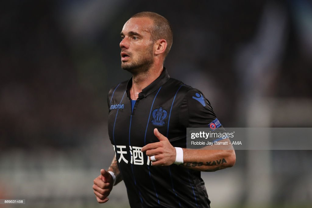 Wesley Sneijder of Nice during the UEFA Europa League group K match between Lazio Roma and OGC Nice at Stadio Olimpico on November 2, 2017 in Rome, Italy.