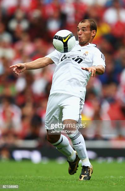 Wesley Sneijder of Real Madrid in action during the preseason friendly match between SV Hamburg and Real Madrid during the Emirates Cup at the...
