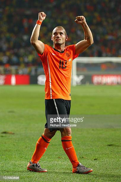 Wesley Sneijder of the Netherlands celebrates after victory and progress to the semifinals during the 2010 FIFA World Cup South Africa Quarter Final...
