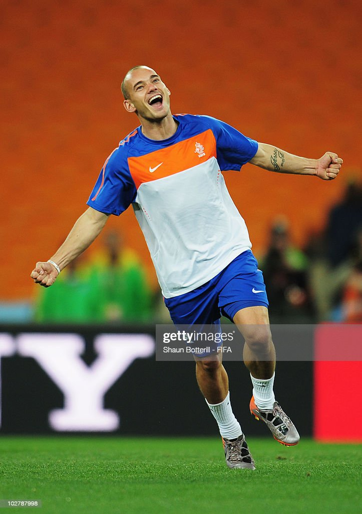 Wesley Sneijder of the Netherlands celebrates during a Netherlands training session, ahead of the 2010 FIFA World Cup Final, at Soccer City Stadium on July 10, 2010 in Johannesburg, South Africa.