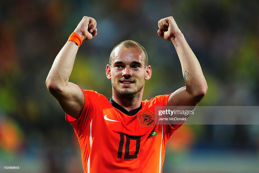 Wesley Sneijder of the Netherlands celebrates victory following the 2010 FIFA World Cup South Africa Quarter Final match between Netherlands and Brazil at Nelson Mandela Bay Stadium on July 2, 2010 in Nelson Mandela Bay/Port Elizabeth, South Africa.