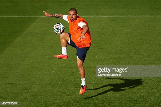 Wesley Sneijder of the Netherlands controls the ball during a Netherlands training session and press conference at Estadio BeiraRio on June 17 2014...