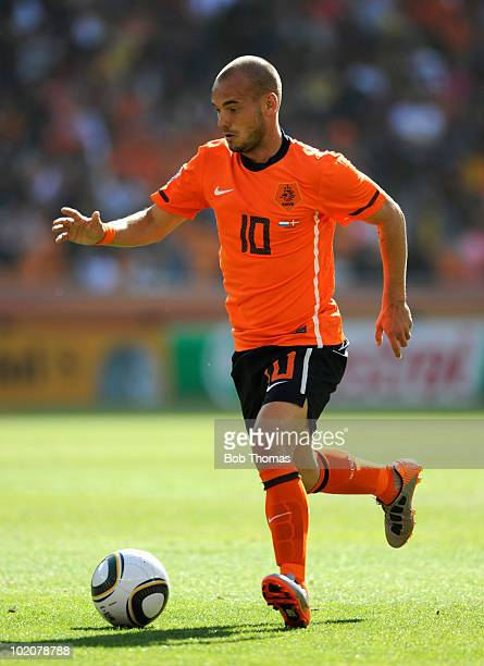 Wesley Sneijder of the Netherlands during the 2010 FIFA World Cup Group E match between Netherlands and Denmark at Soccer City Stadium on June 14...