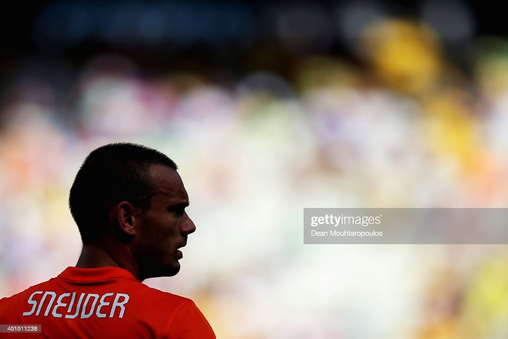 <a gi-track='captionPersonalityLinkClicked' href=/galleries/search?phrase=Wesley+Sneijder&family=editorial&specificpeople=538145 ng-click='$event.stopPropagation()'>Wesley Sneijder</a> of the Netherlands looks on during the 2014 FIFA World Cup Brazil Round of 16 match between Netherlands and Mexico at Castelao on June 29, 2014 in Fortaleza, Brazil.