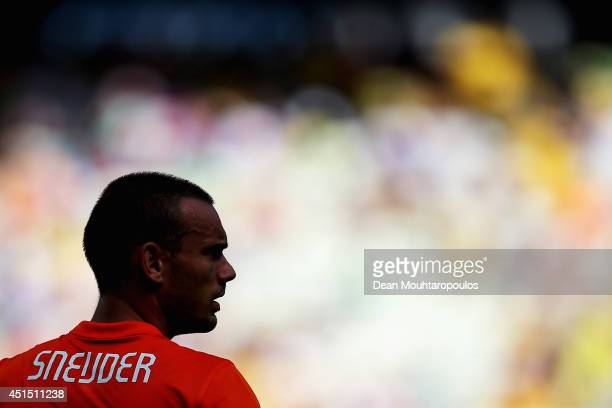 Wesley Sneijder of the Netherlands looks on during the 2014 FIFA World Cup Brazil Round of 16 match between Netherlands and Mexico at Castelao on...