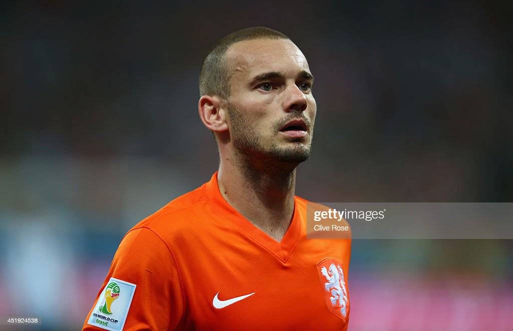 <a gi-track='captionPersonalityLinkClicked' href=/galleries/search?phrase=Wesley+Sneijder&family=editorial&specificpeople=538145 ng-click='$event.stopPropagation()'>Wesley Sneijder</a> of the Netherlands looks on during the 2014 FIFA World Cup Brazil Semi Final match between the Netherlands and Argentina at Arena de Sao Paulo on July 9, 2014 in Sao Paulo, Brazil.