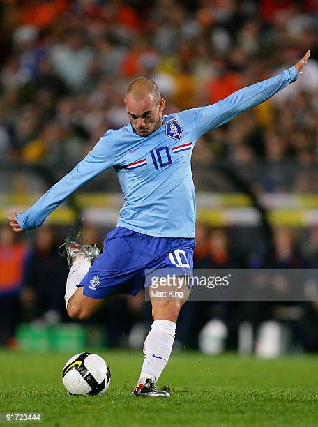 Wesley Sneijder of the Netherlands takes a shot at goal during the International friendly football match between Australia and the Netherlands at...