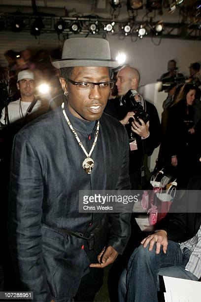 Wesley Snipes during MercedesBenz Fall 2005 LA Fashion Week at Smashbox Studios Single Front Row at Smashbox Studios in Culver City California United...