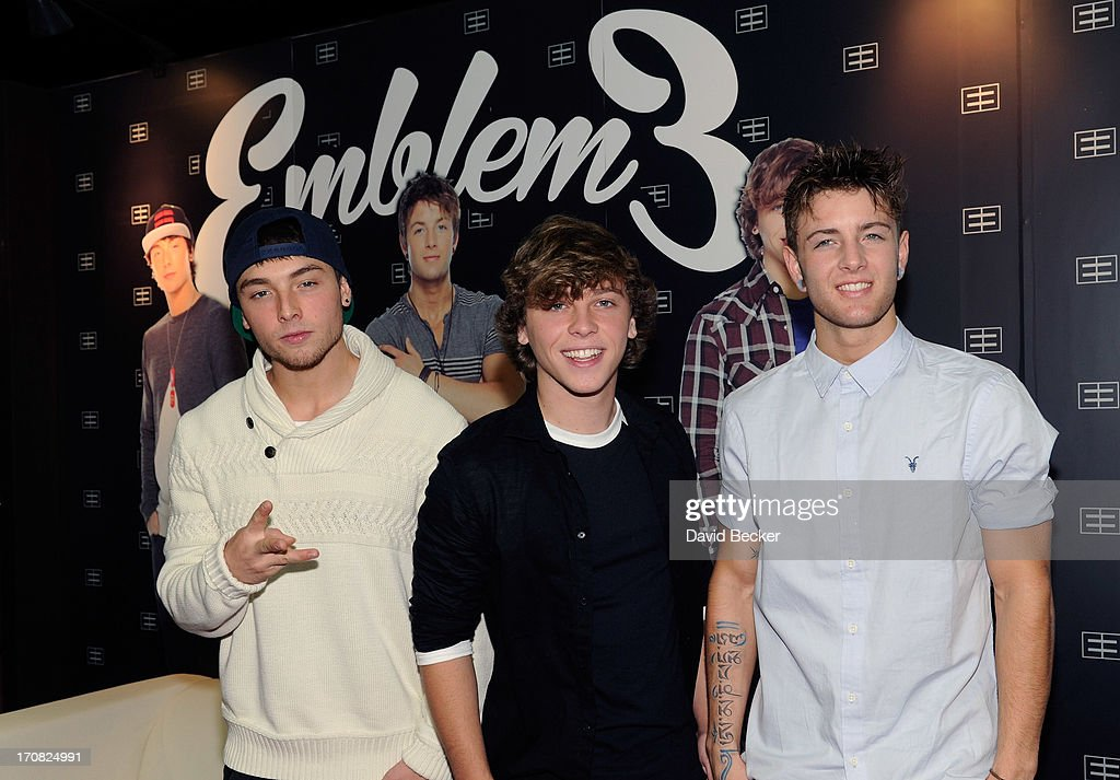 Wesley Stromberg, <a gi-track='captionPersonalityLinkClicked' href=/galleries/search?phrase=Keaton+Stromberg&family=editorial&specificpeople=9720341 ng-click='$event.stopPropagation()'>Keaton Stromberg</a> and Drew Chadwick of Emblem3 appear at the Live Nation merchandise booth at Licensing Expo 2013 at the Mandalay Bay Convention Center on June 18, 2013 in Las Vegas, Nevada.