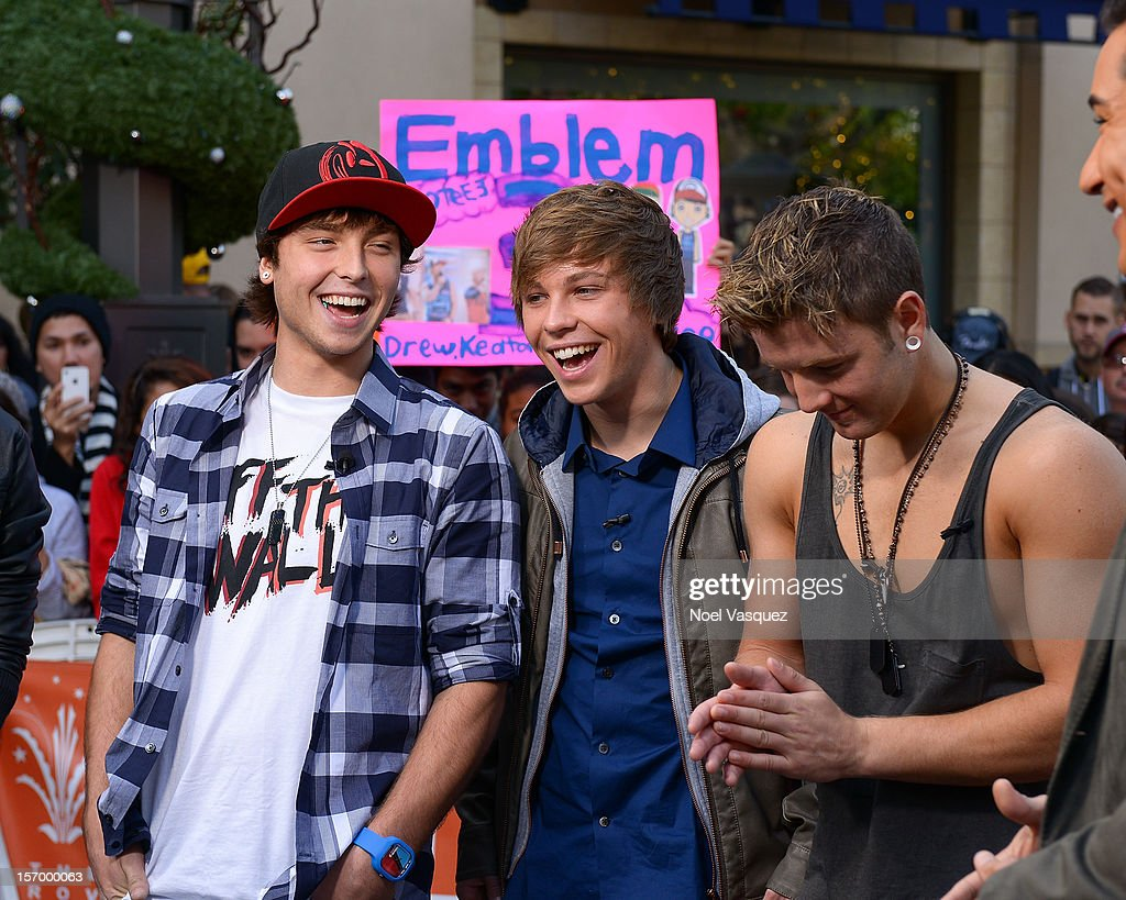 Wesley Stromberg, Keaton Stromberg and Drew Chadwick of Emblem3 visit 'Extra' at The Grove on November 26, 2012 in Los Angeles, California.