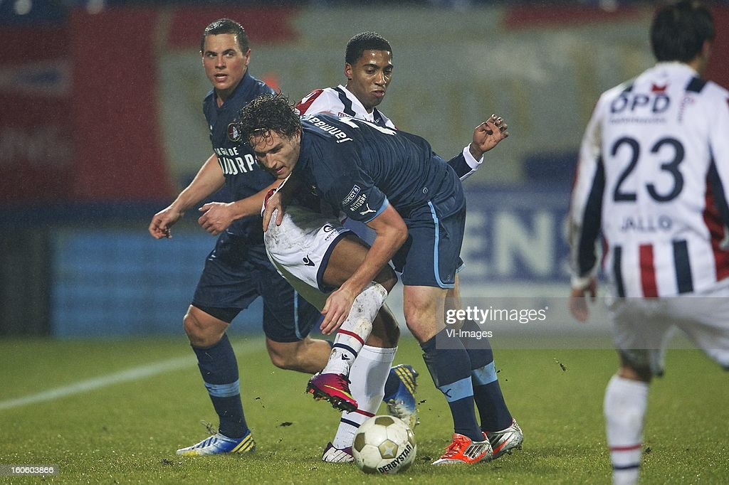 Wesley Verhoek of Feyenoord, Genero Snijders of Willem II, Daryl Janmaat of Feyenoord, during the Dutch Eredivisie match between Willem II and Feyenoord at the Koning Willem II Stadium on february 3, 2013 in Tilburg, The Netherlands